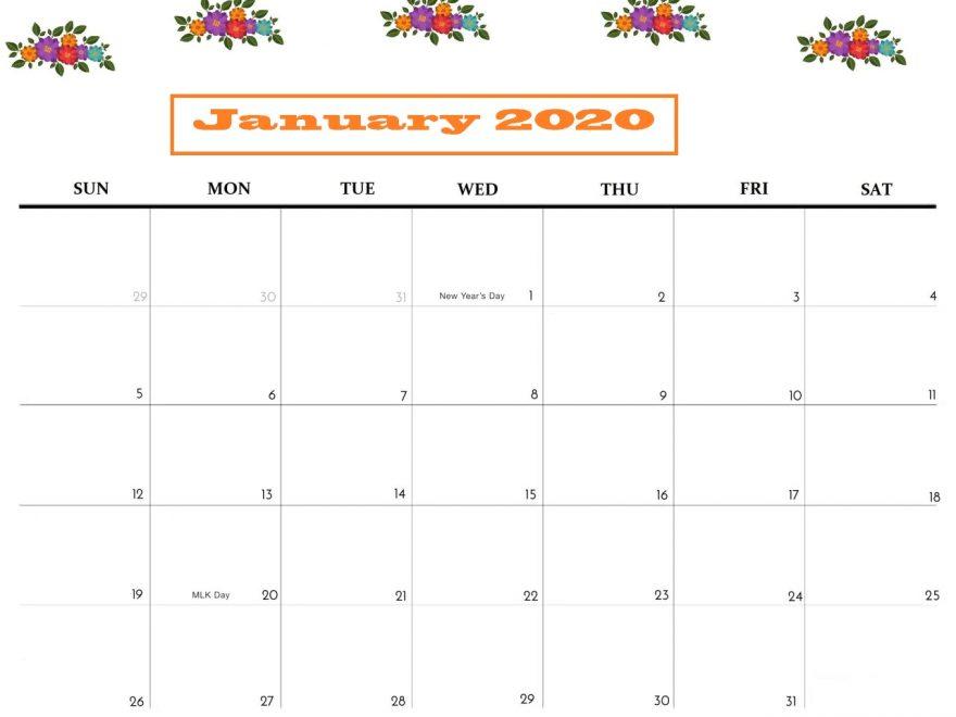 Cute January 2020 Blank Calendar