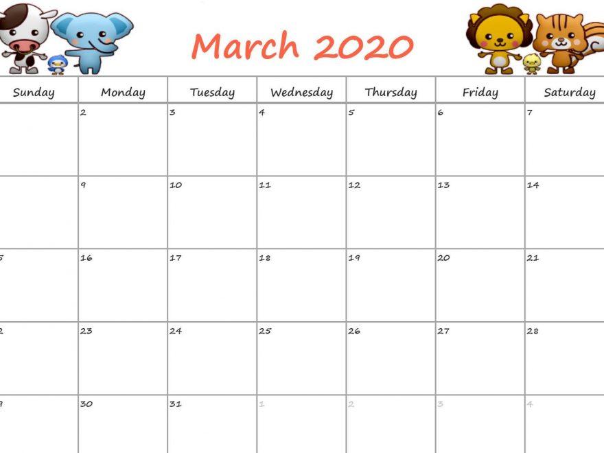 Cute March 2020 Calendar Floral