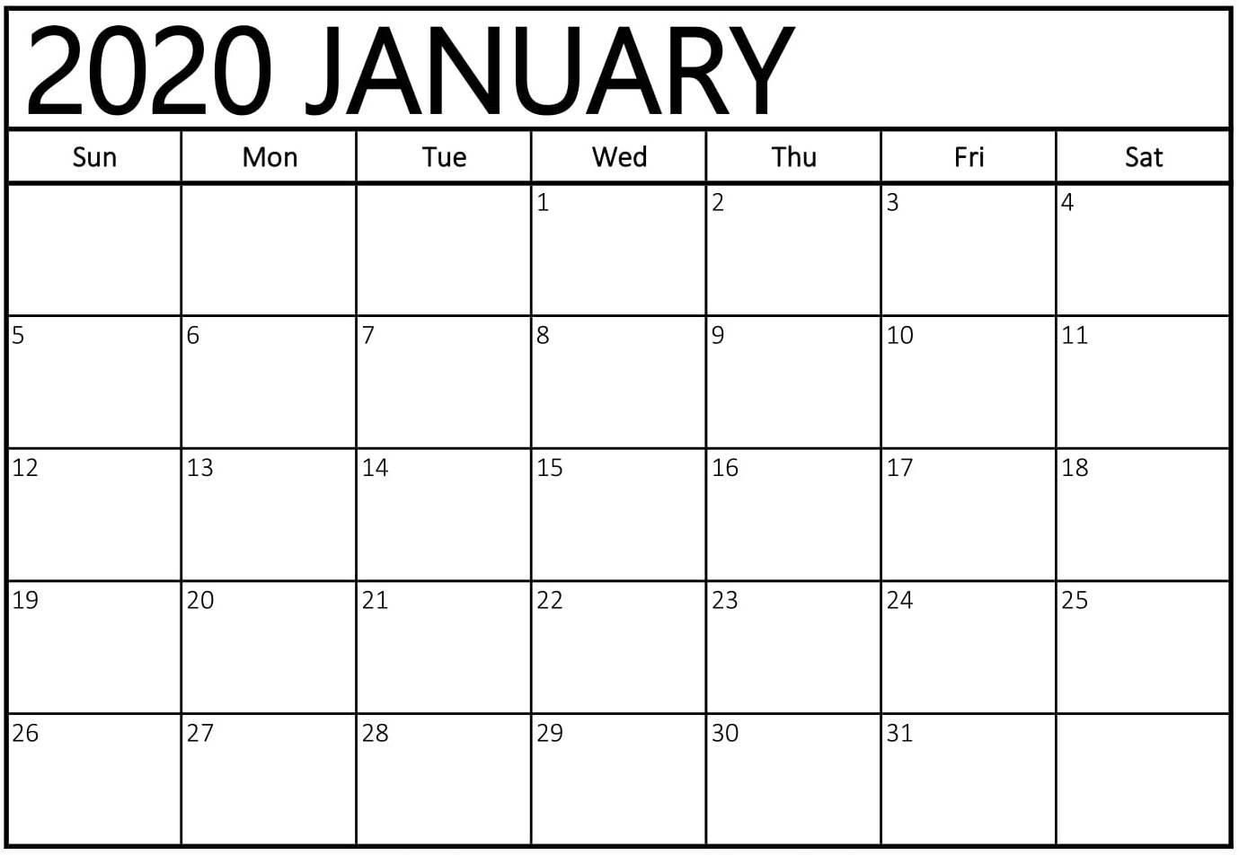 Editable January 2020 Blank Calendar