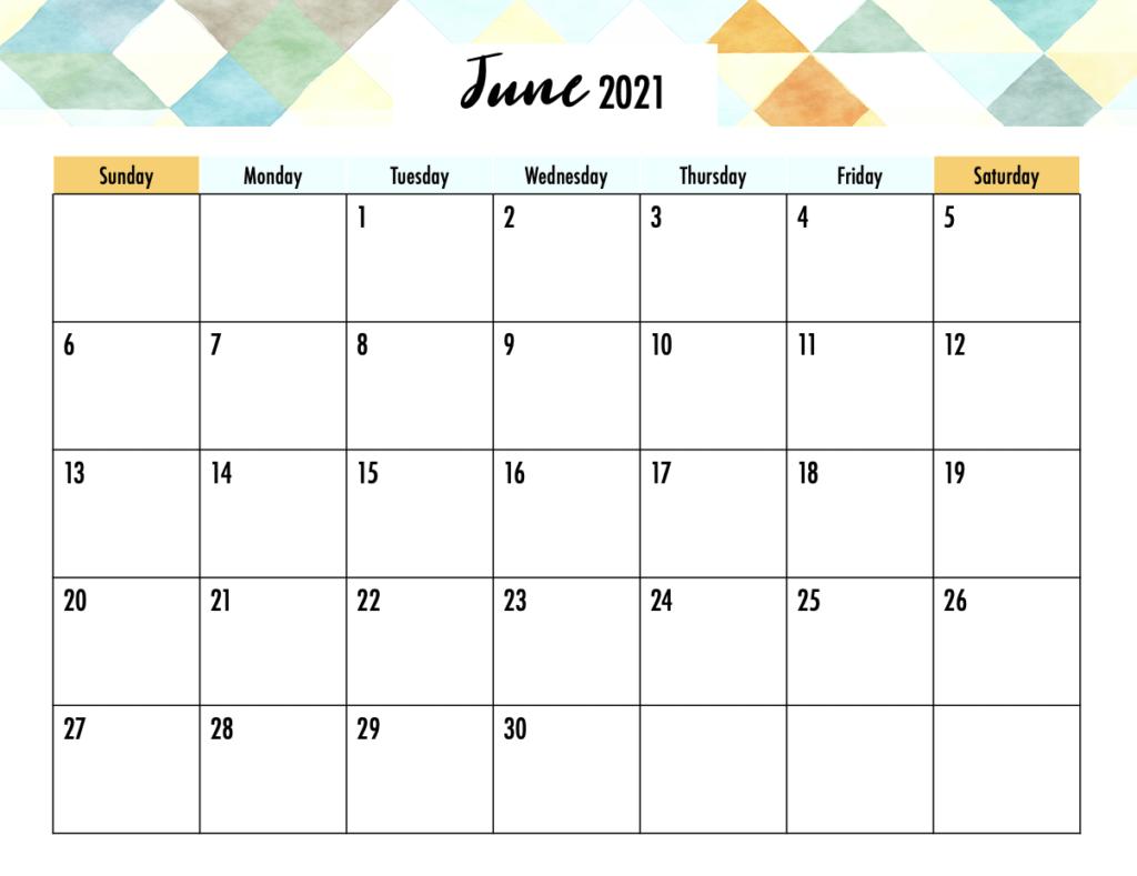 Editable June 2021 Planner Calendar