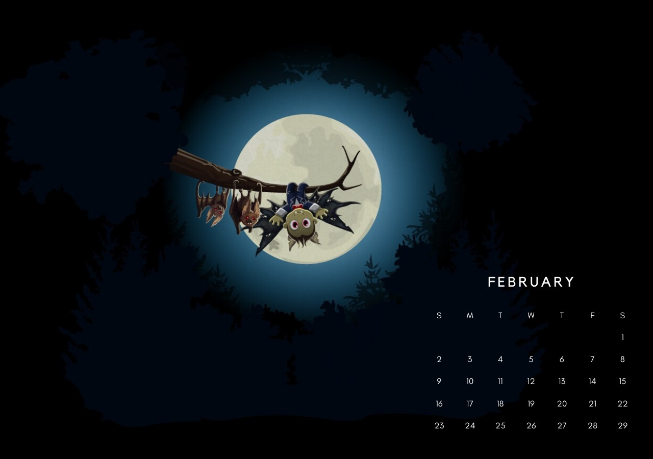 Feb 2020 Calendar Screensaver
