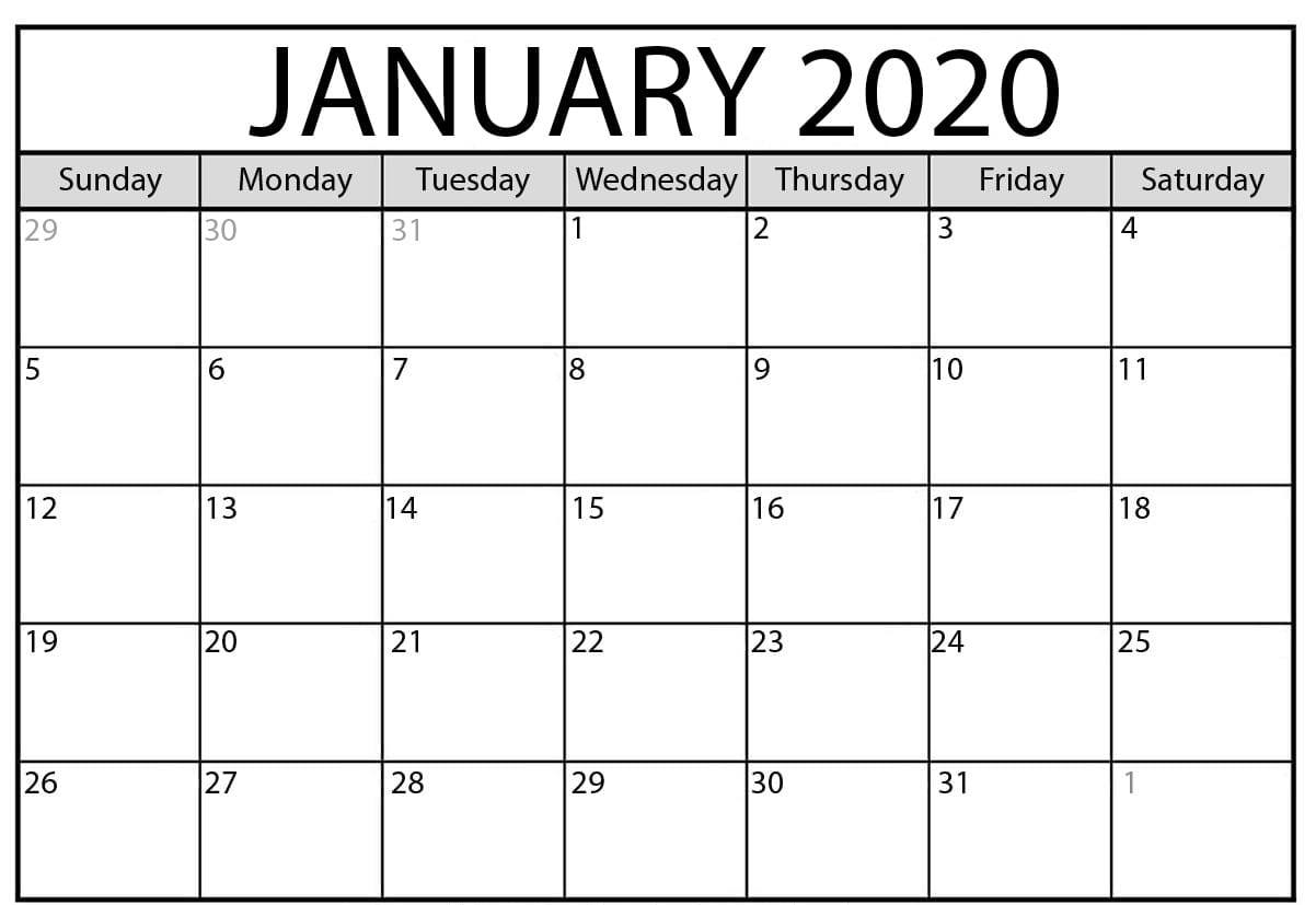 Fillable January 2020 Calendar Pages