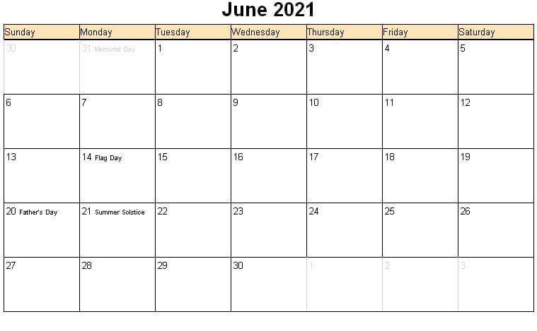 June 2021 Calendar India