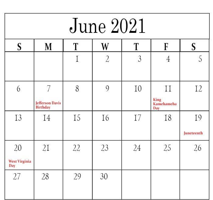 June 2021 Holidays