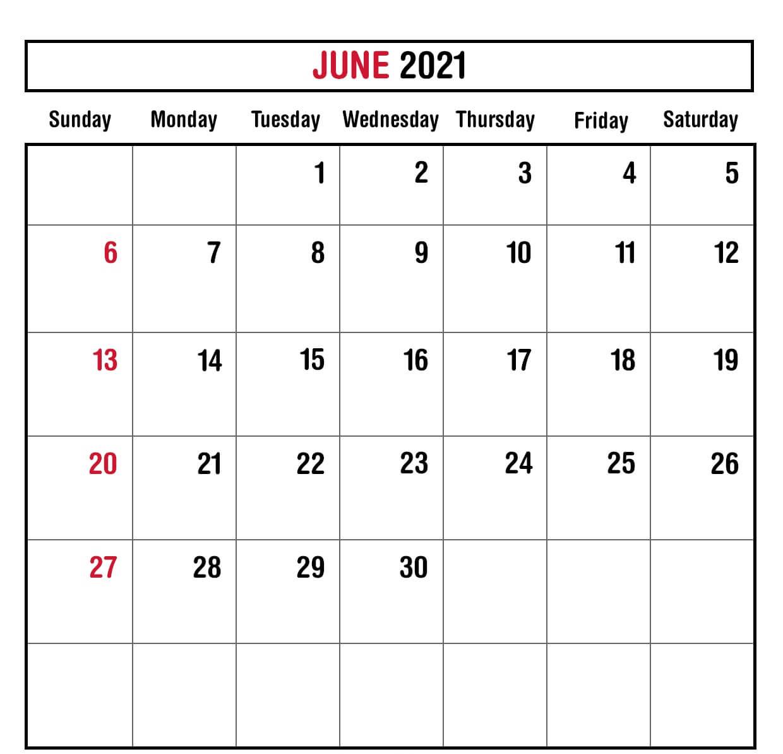 June 2021 Monthly Planner Calendar