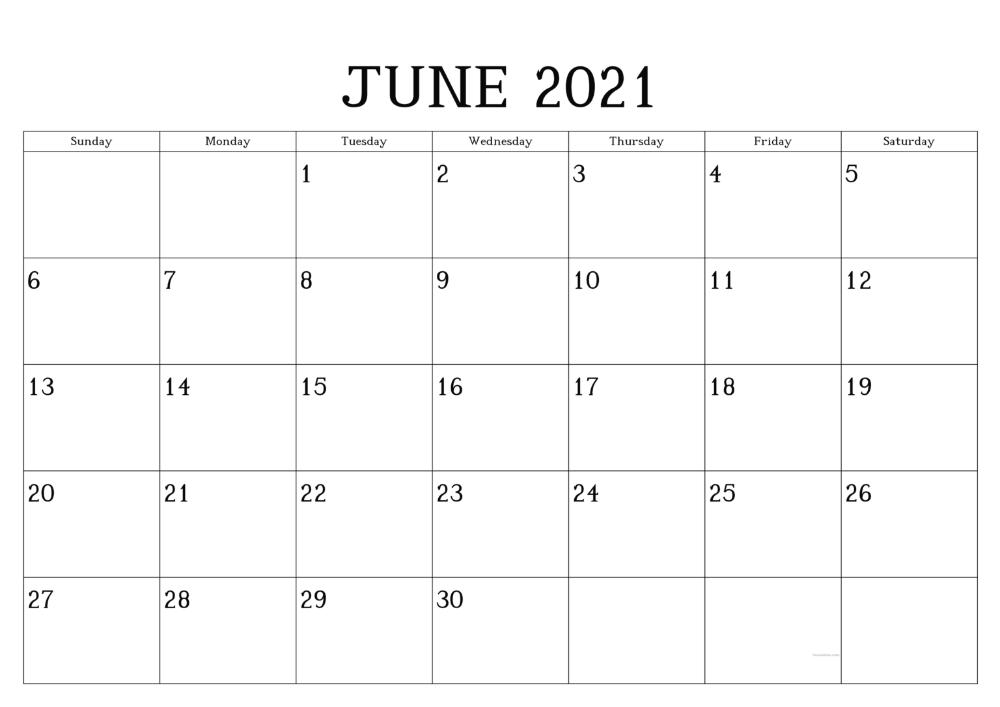 June 2021 Planner Calendar Template