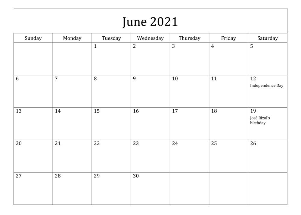 June 2021 Planner Calendar