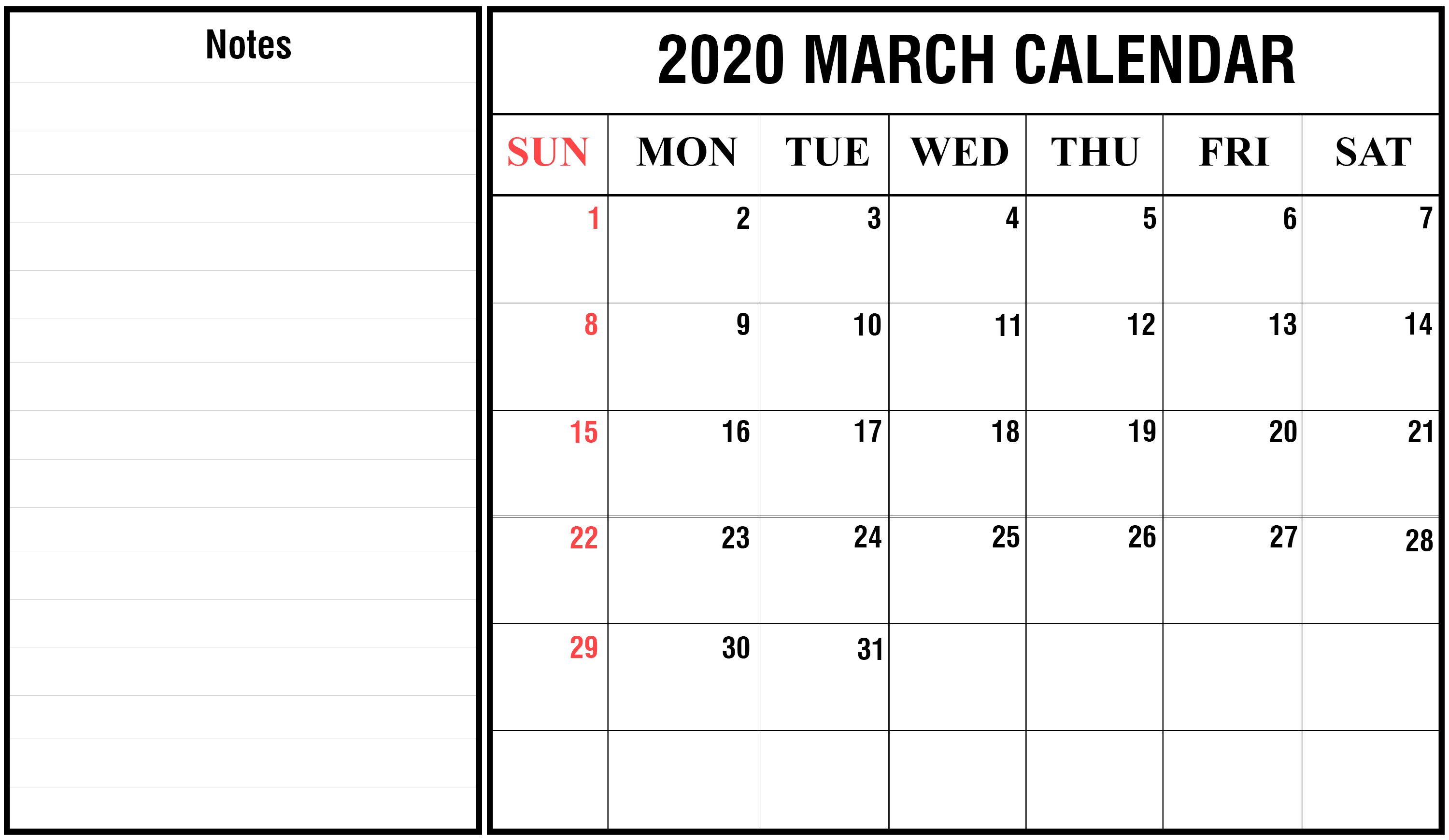 March 2020 Personalized Wall Calendar