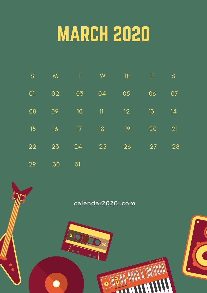 March 2020 iPhone Calendar