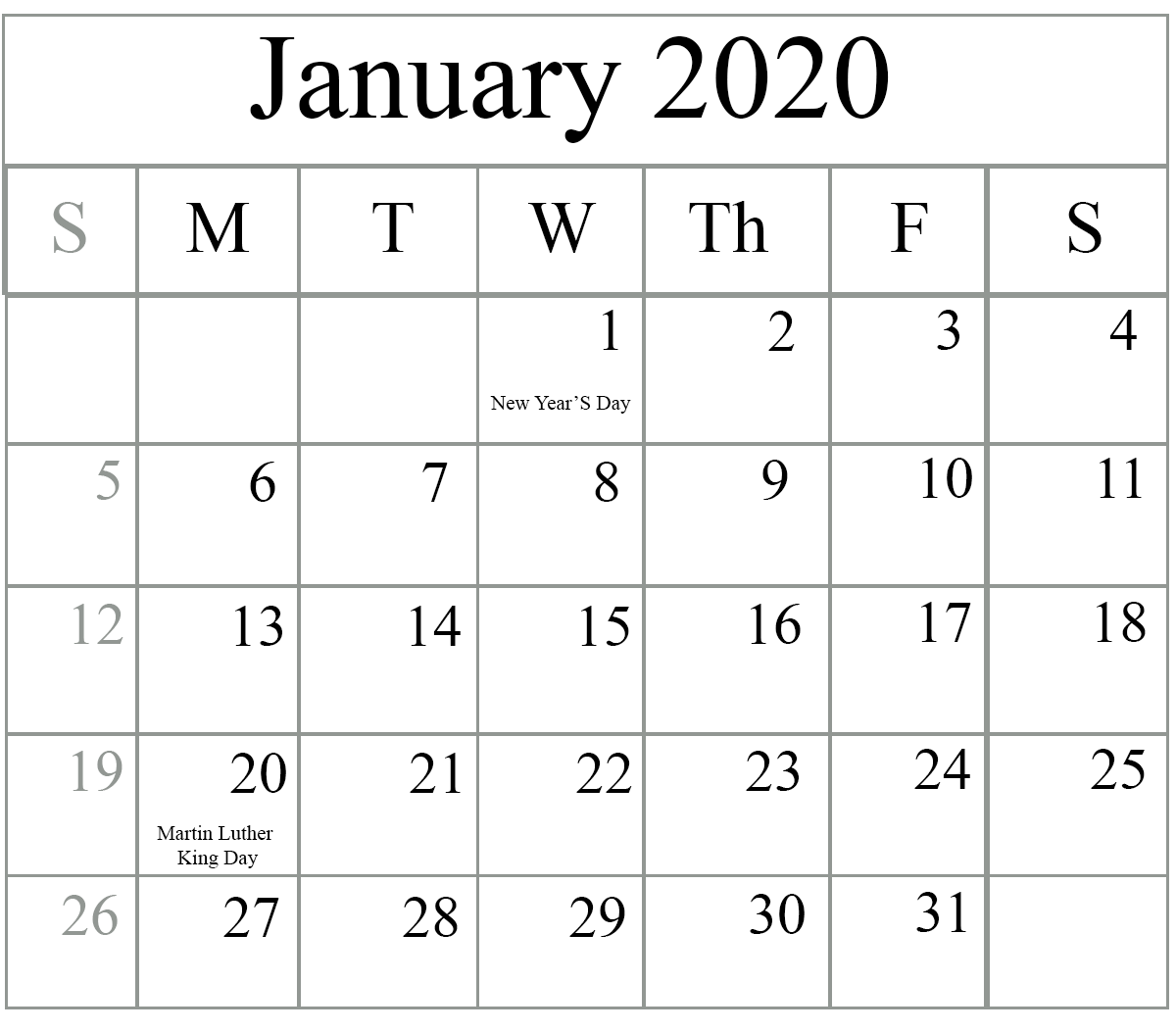 Printable January 2020 Calendar Fillable