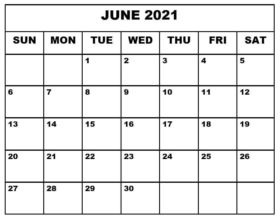Printable June 2021 Calendar Template