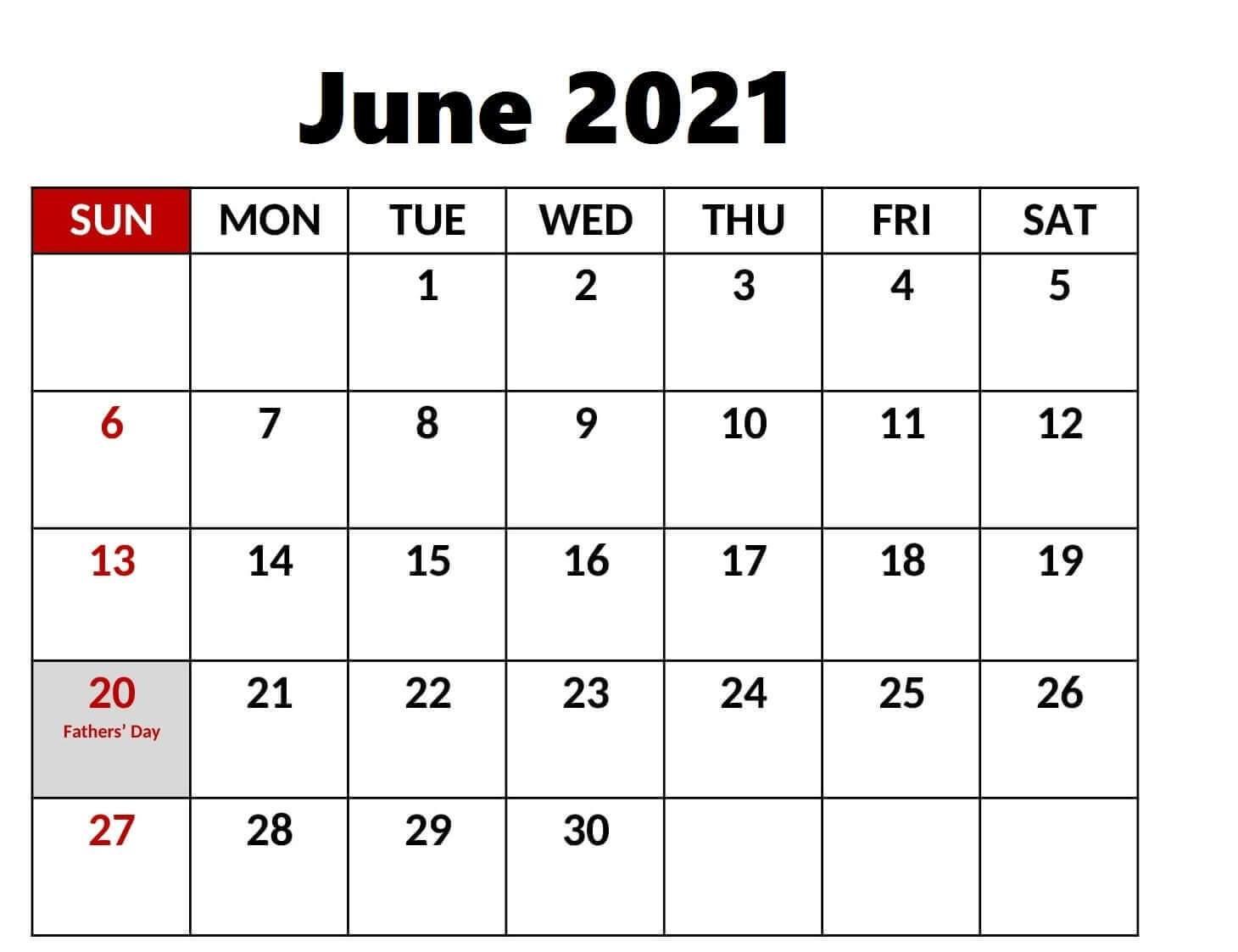 Printable June 2021 Calendar with Holidays
