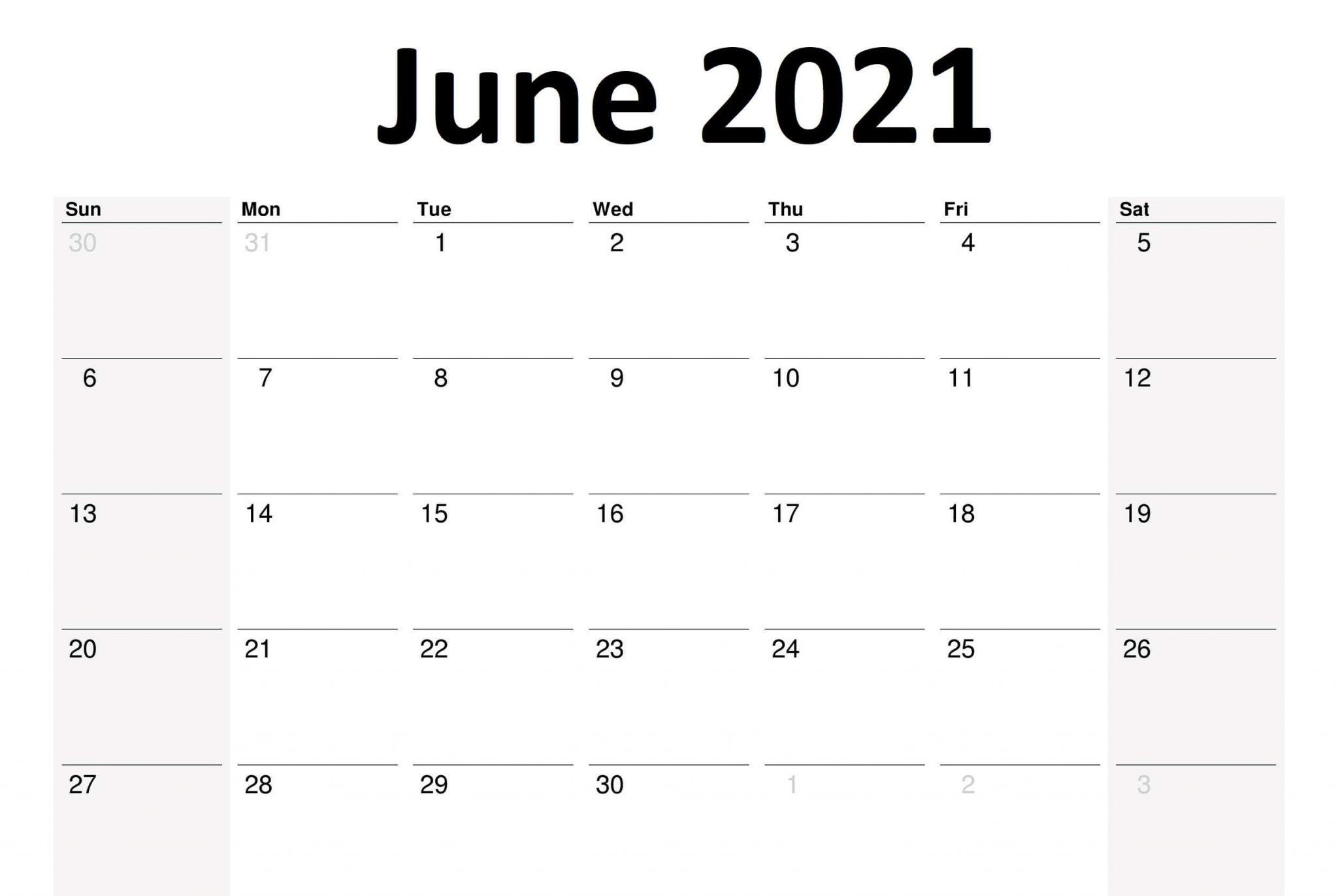 Printable June 2021 Planner Calendar