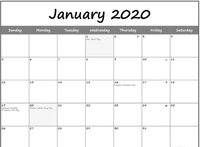 2020 January Calendar Holidays