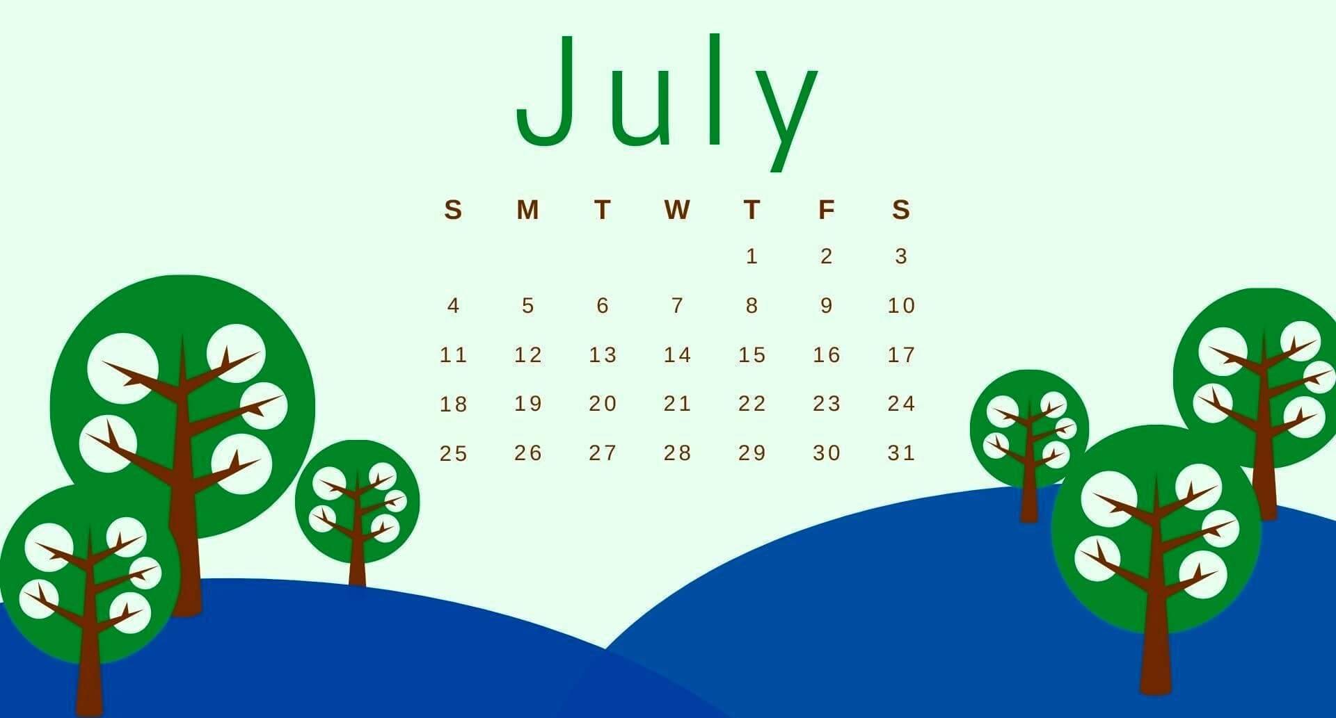 2021 July Desktop Calendar Wallpaper