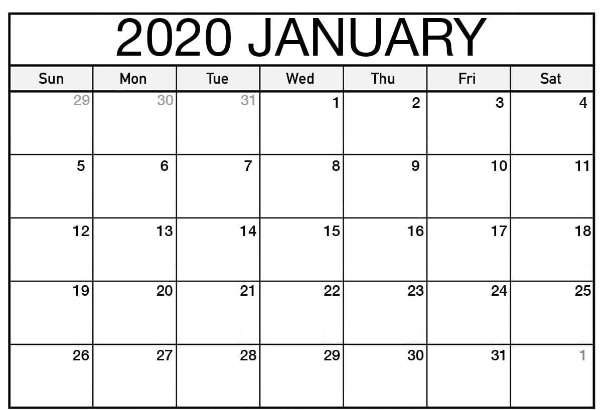 Blank January 2020 Calendar Holidays
