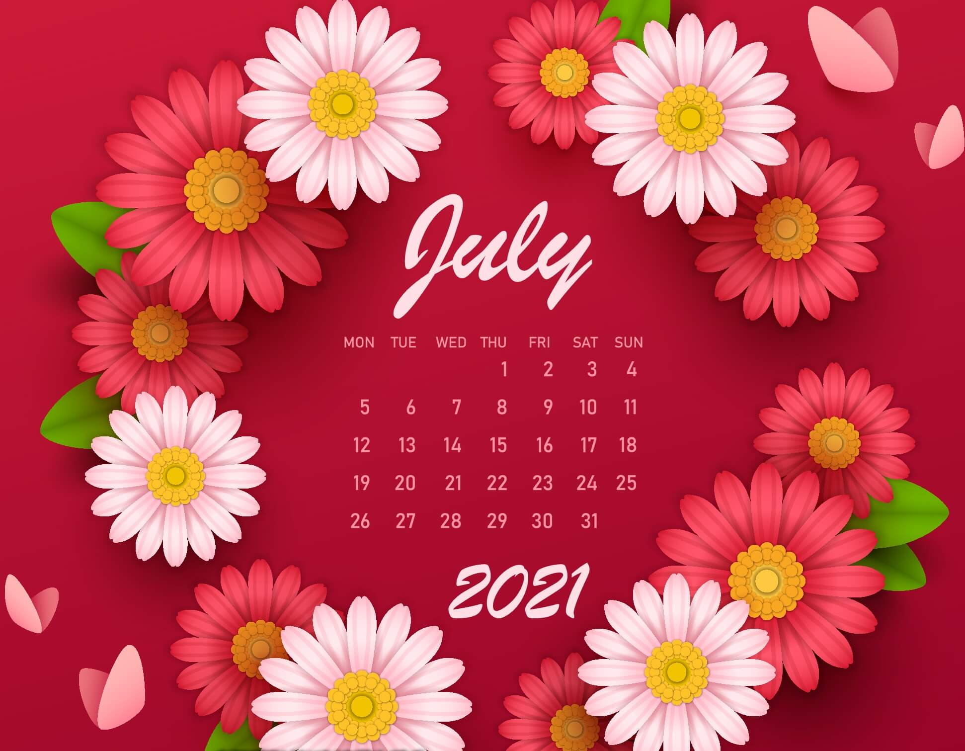 Cute July 2021 Calendar Floral