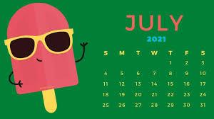 Cute July 2021 Calendar