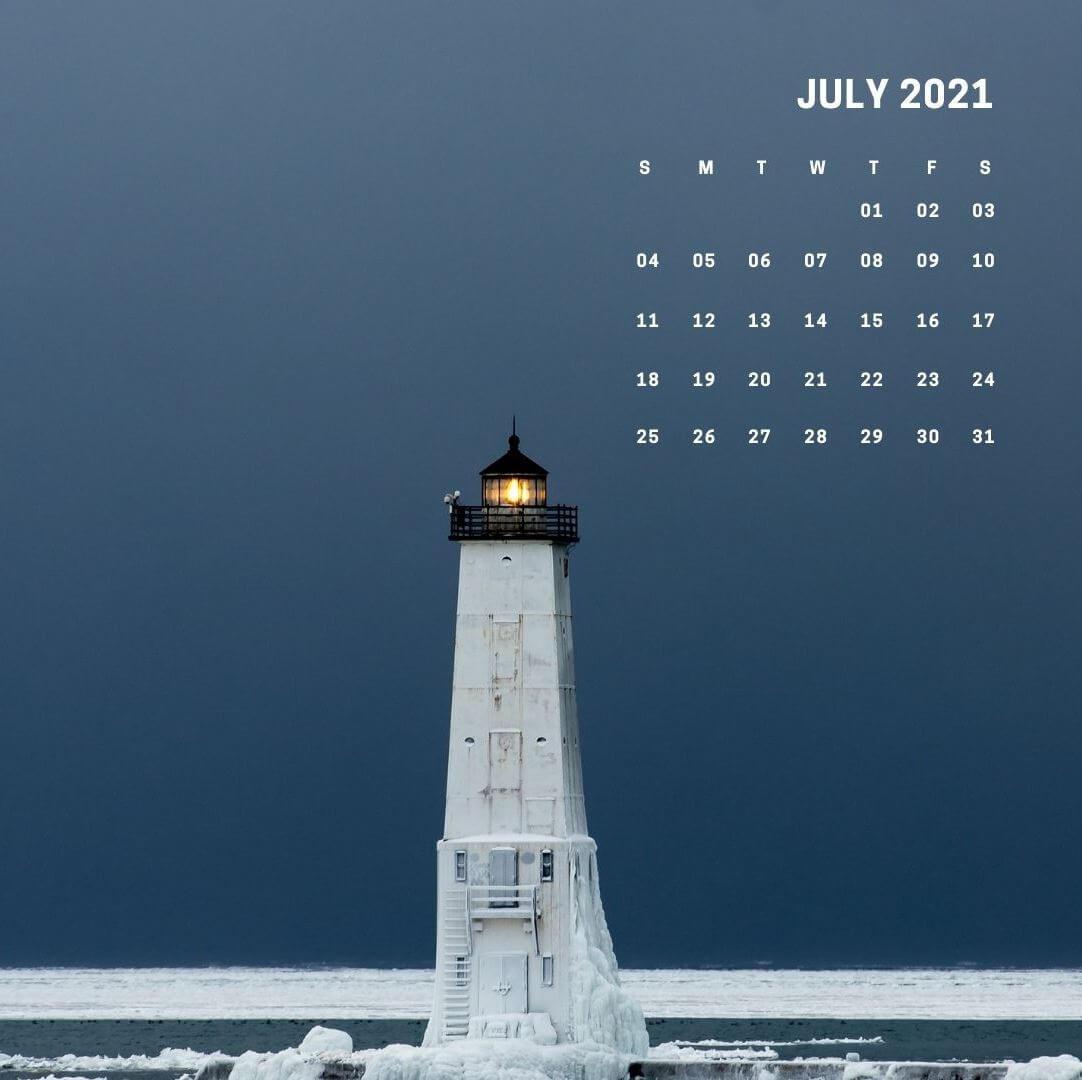 Cute July 2021 Floral Calendar