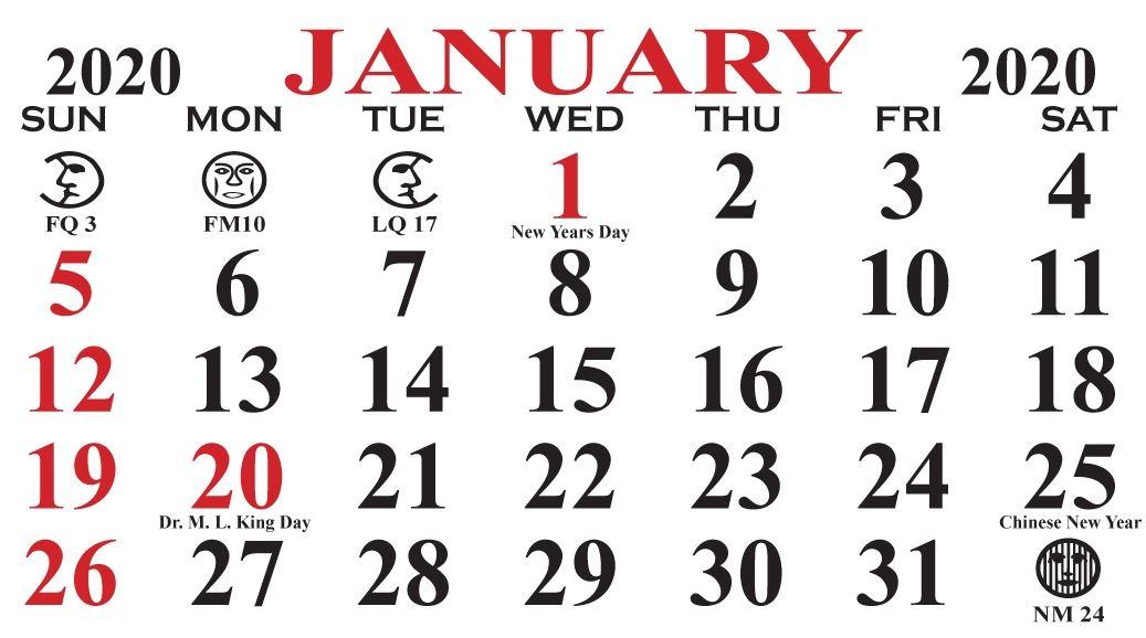 Free Printable January 2020 Calendar Holidays