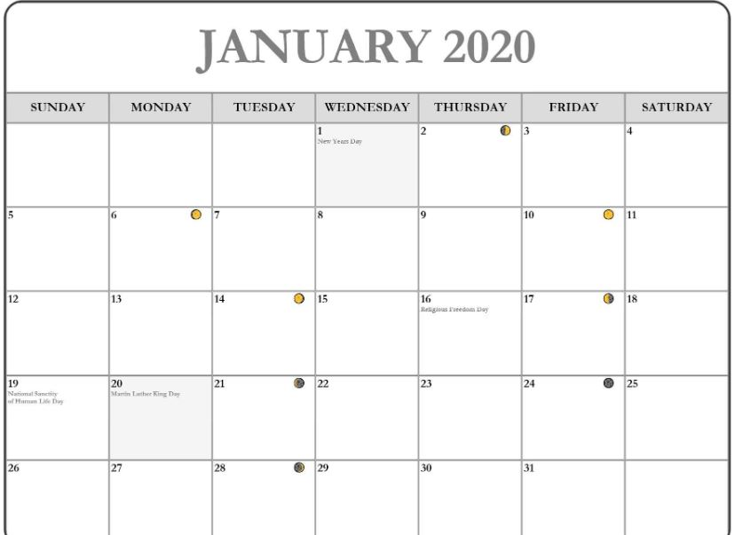 January 2020 Calendar Holidays Printable Templates