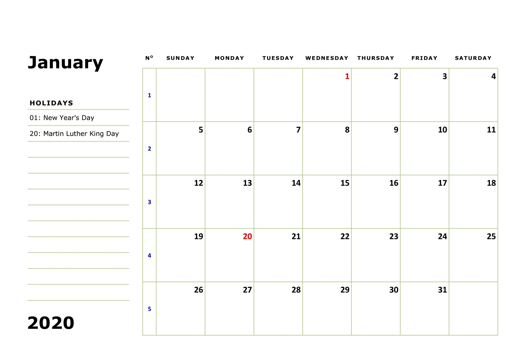 January 2020 Calendar Holidays Template