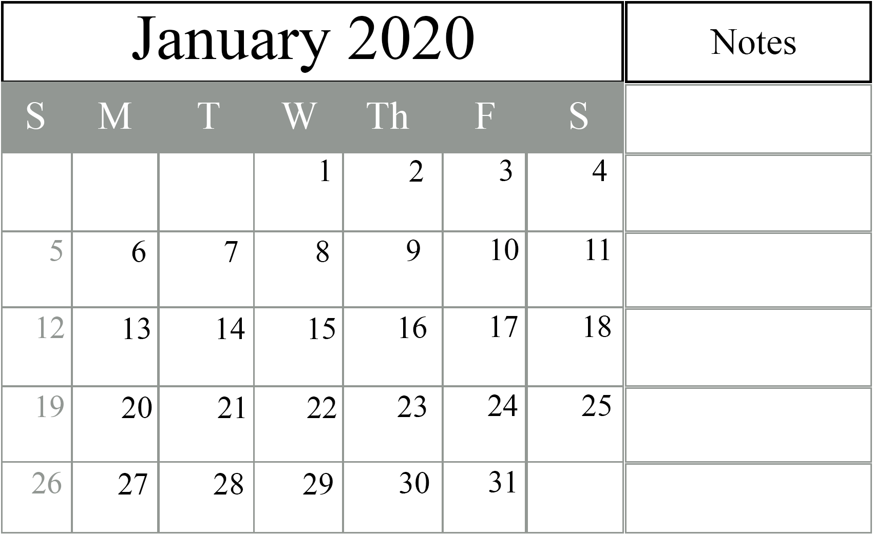 January 2020 Holidays Calendar with Notes