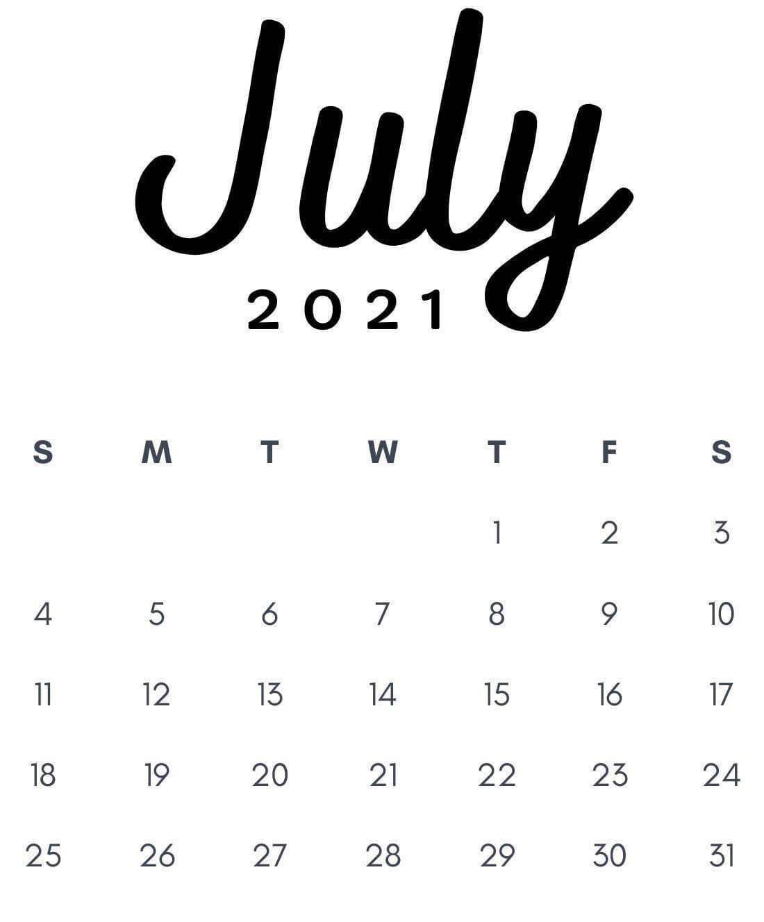 July 2021 Desktop Calendar Wallpaper