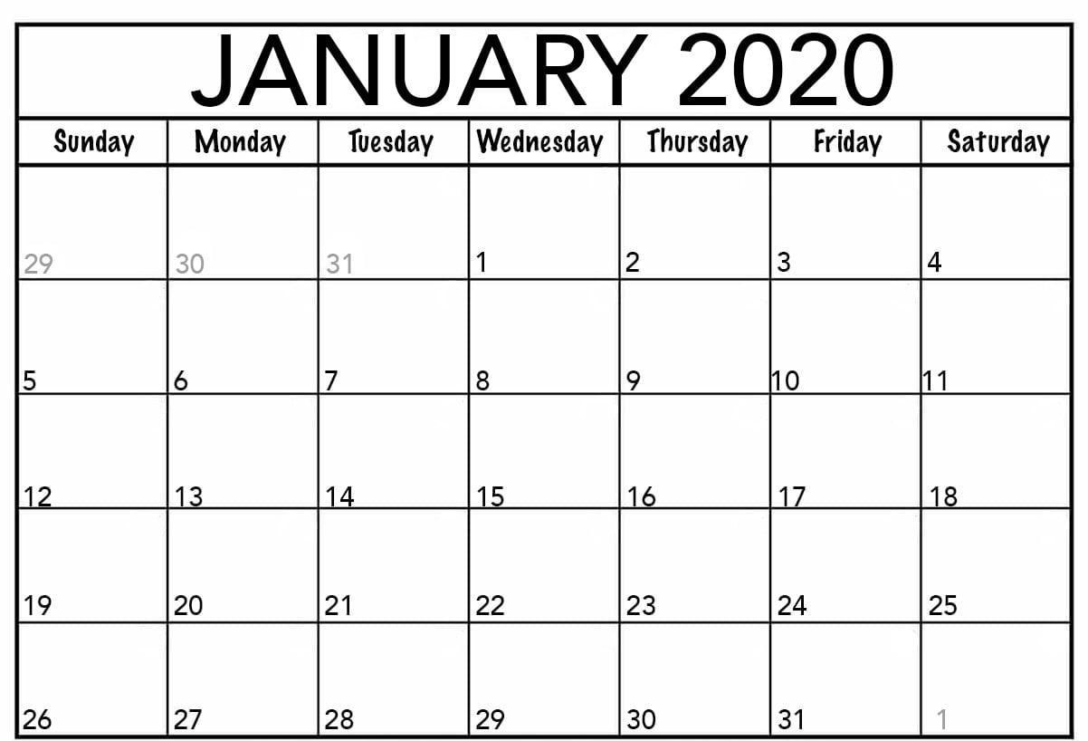 Printable January 2020 Calendar Holidays