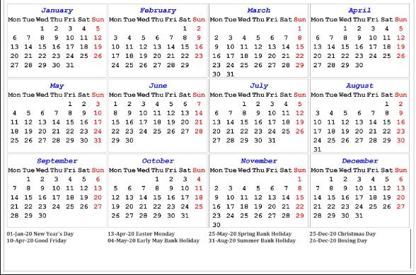 2020 Calendar UK