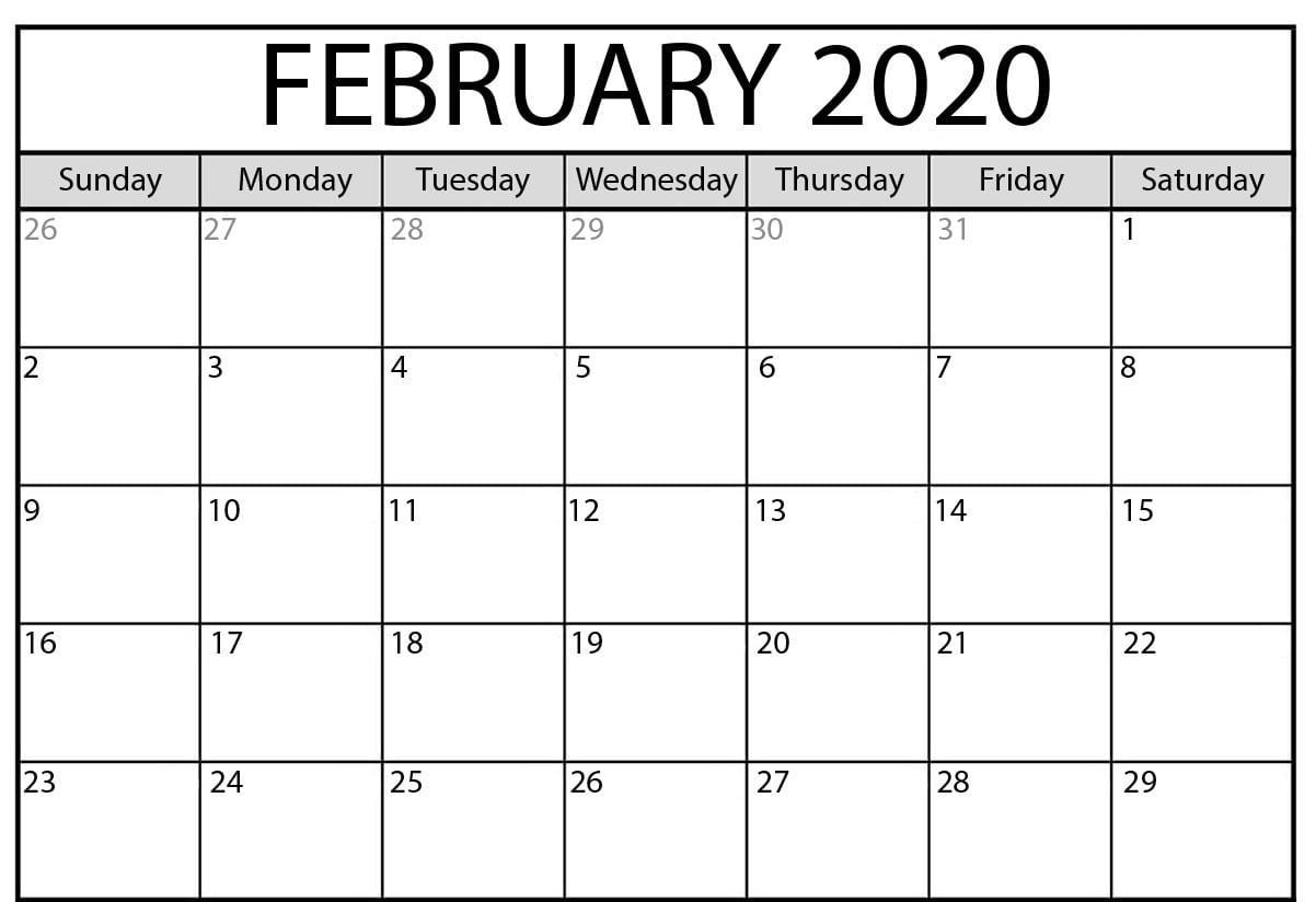 2020 Editable February Calendar PDF