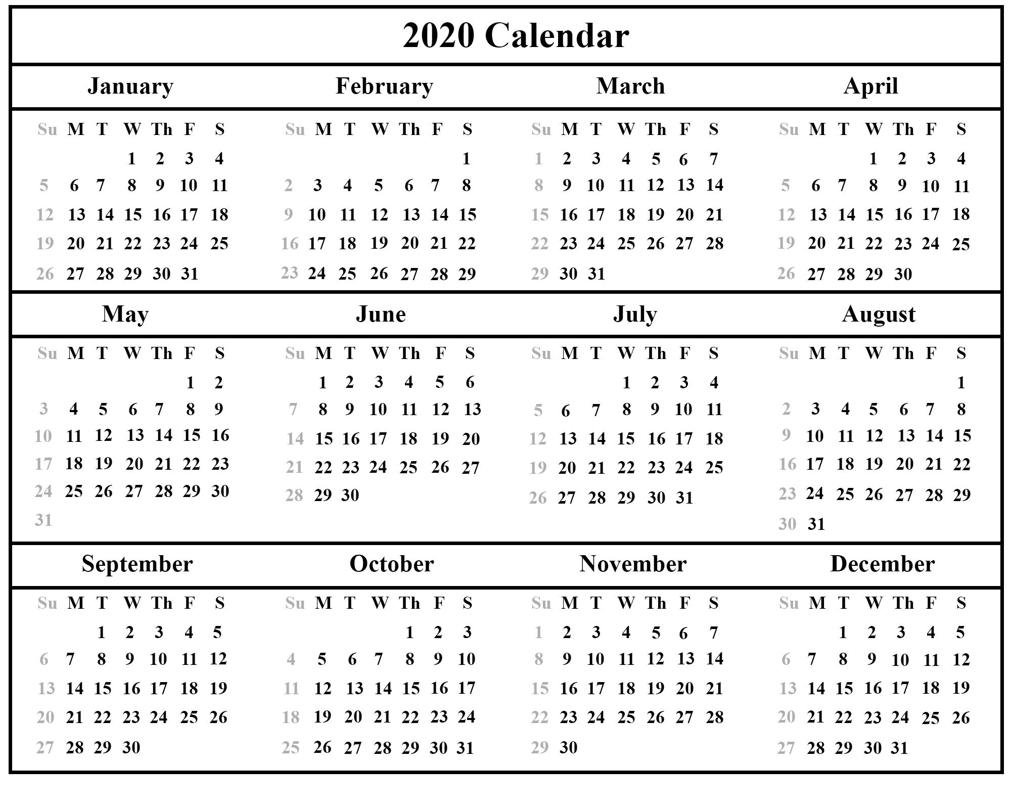 2020 United Holidays Calendar