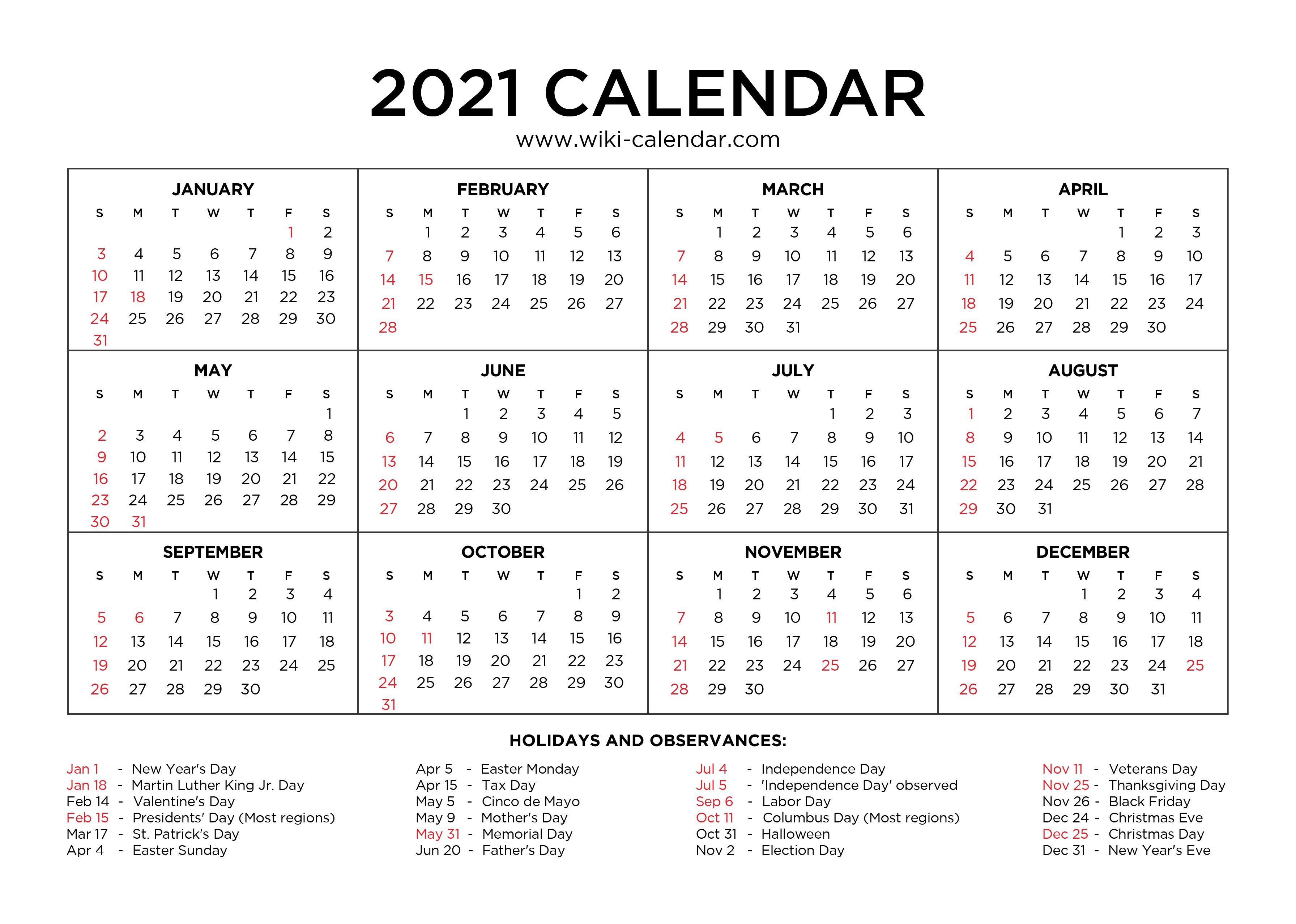 2021 Calendar Holidays