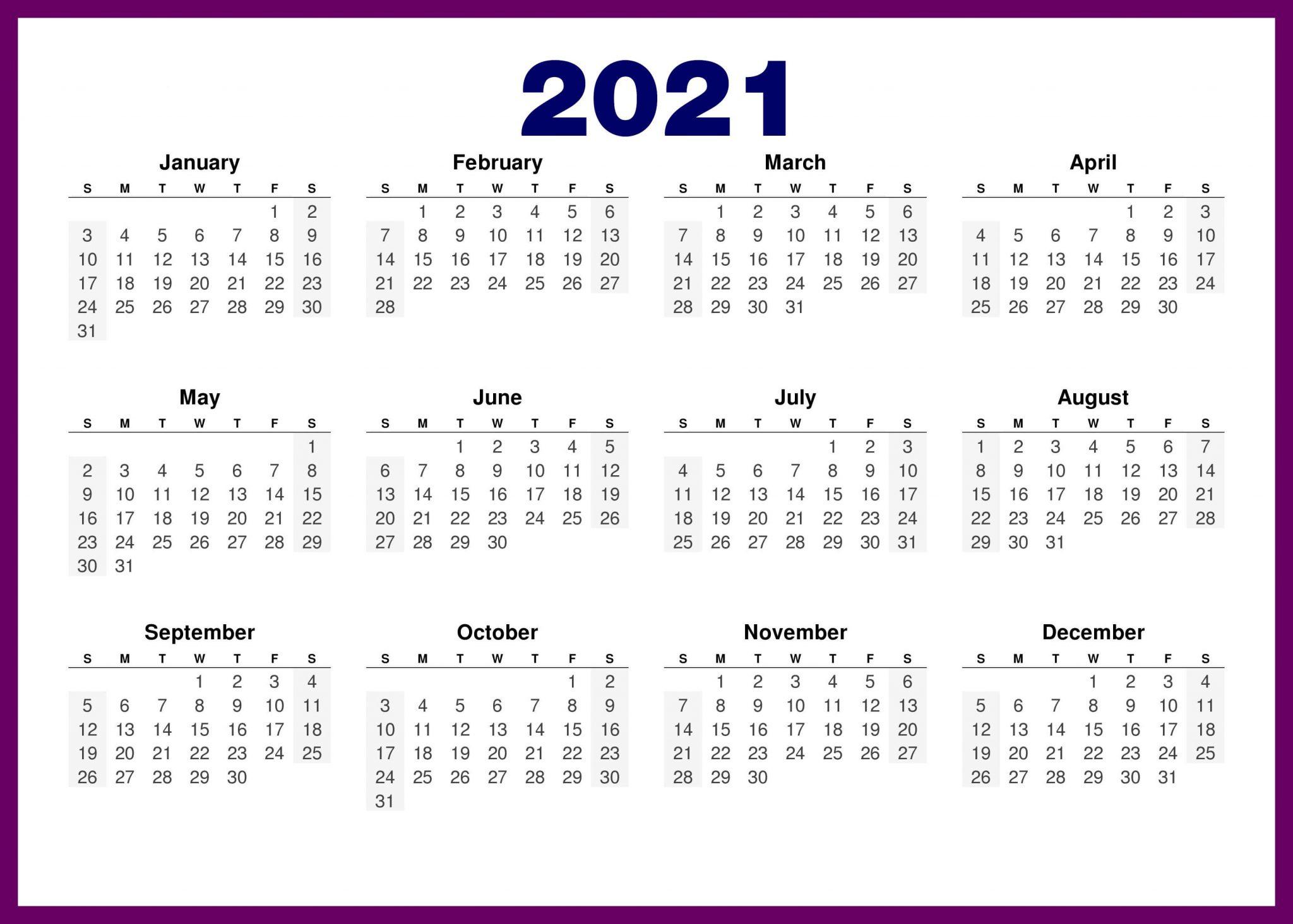 2021 Calendar Horizontal Purple