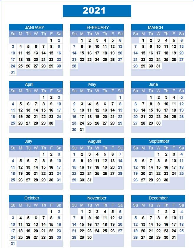2021 Calendar Templates Excel