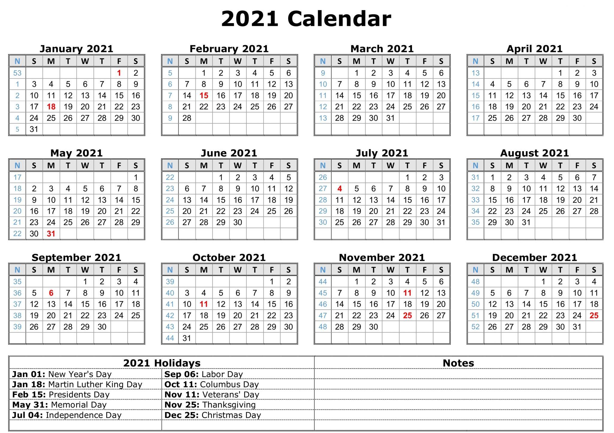 2021 Printable Calendar With Hoildays