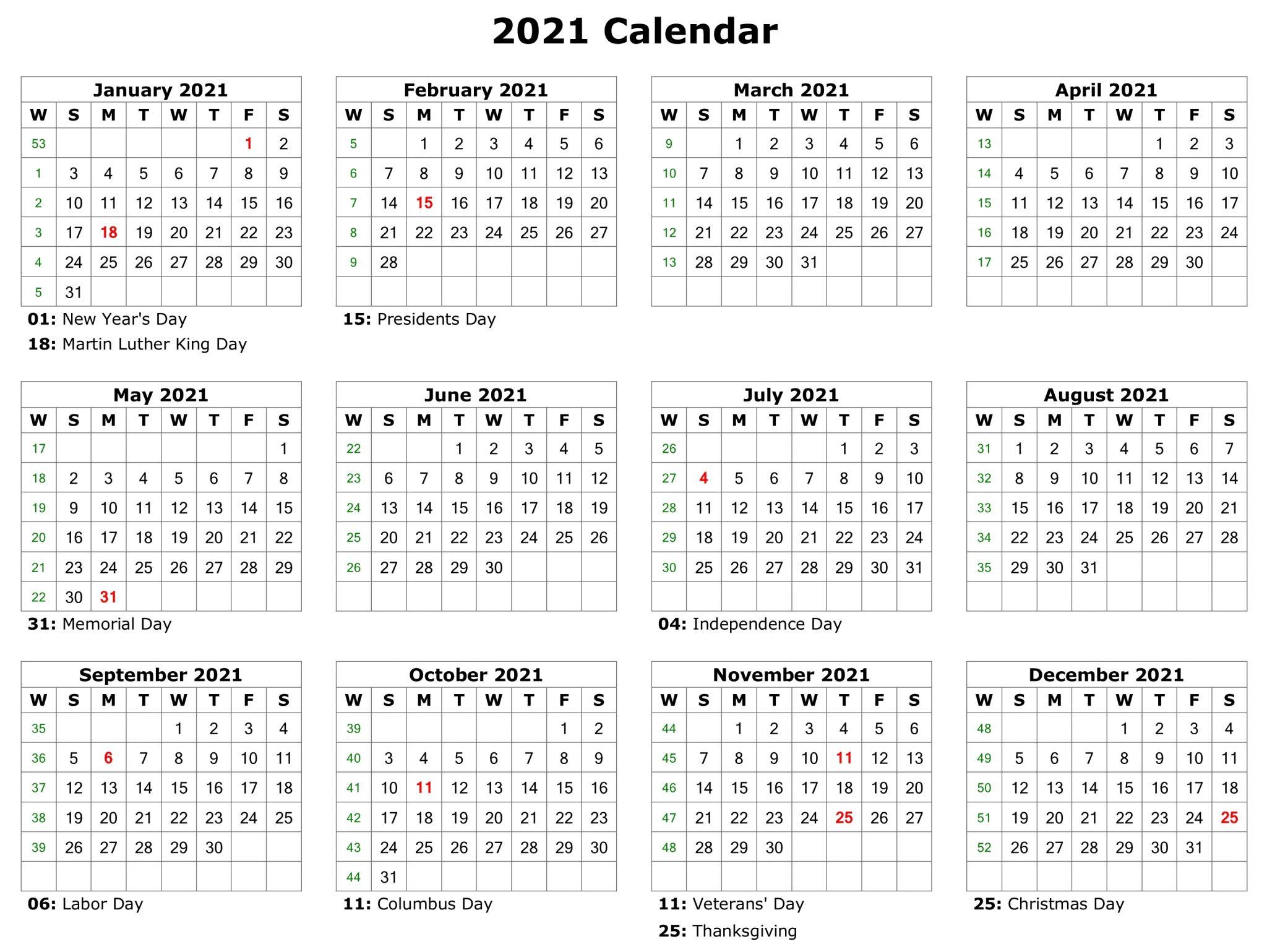 2021 Printable Monthly Calendar