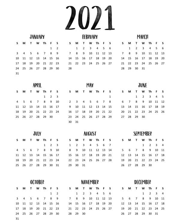 2021 Yearly Blank Templates To Print & Download