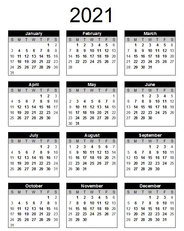 Blank Calendar 2021 Landscape