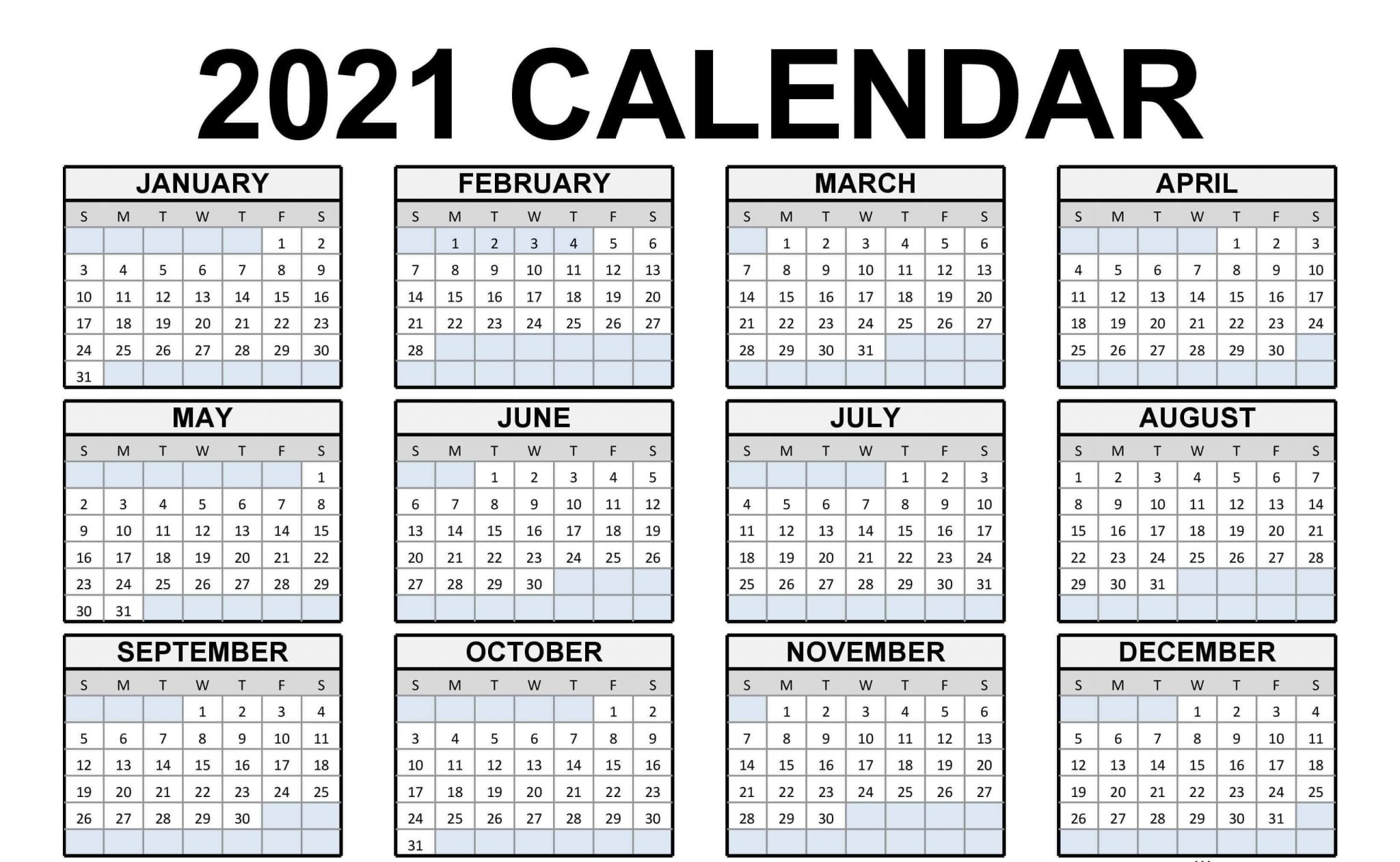 Blank Calendar 2021 Portrait