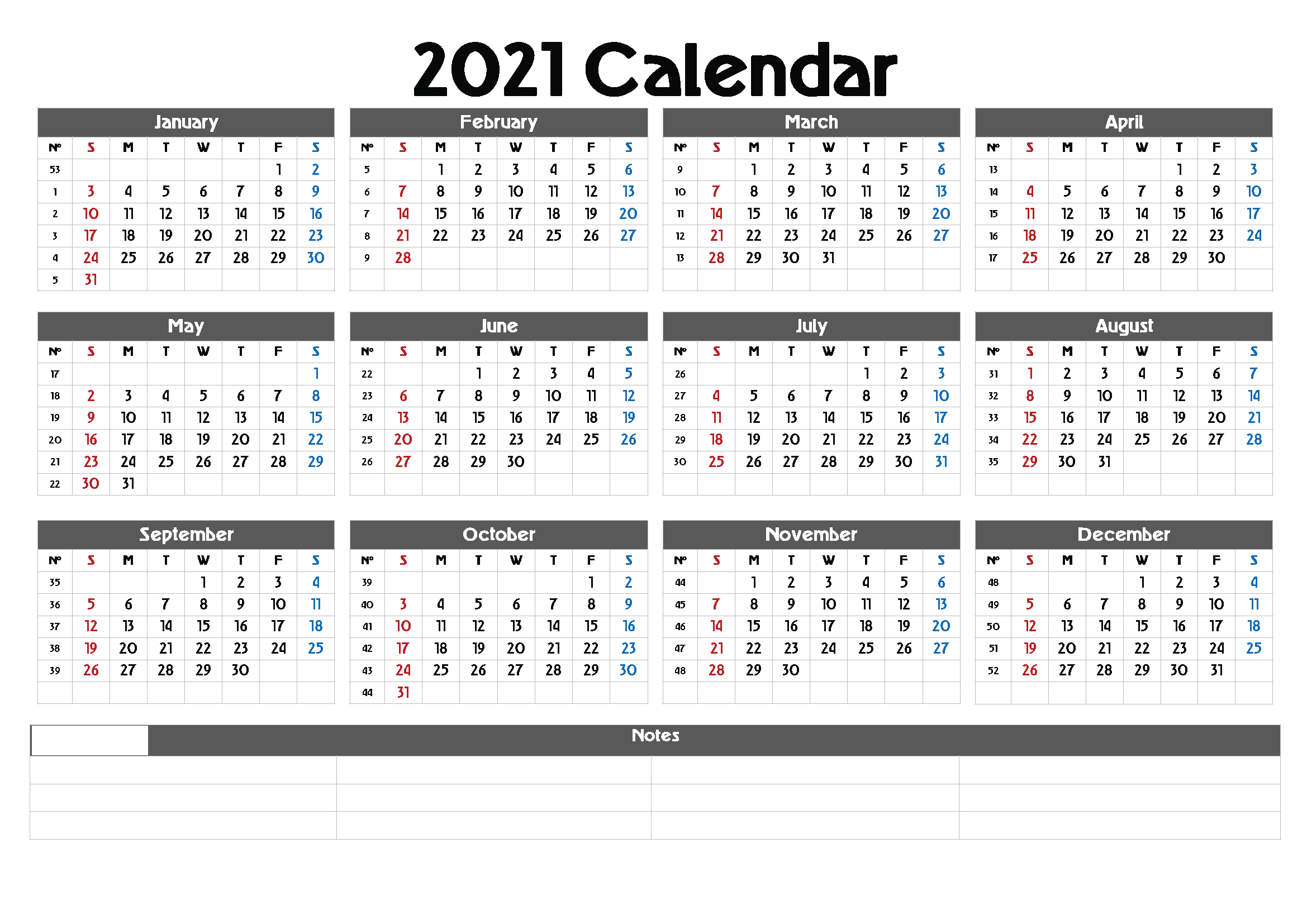 Blank Calendar 2021 with Notes