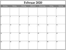Blank Februar 2020 Kalender