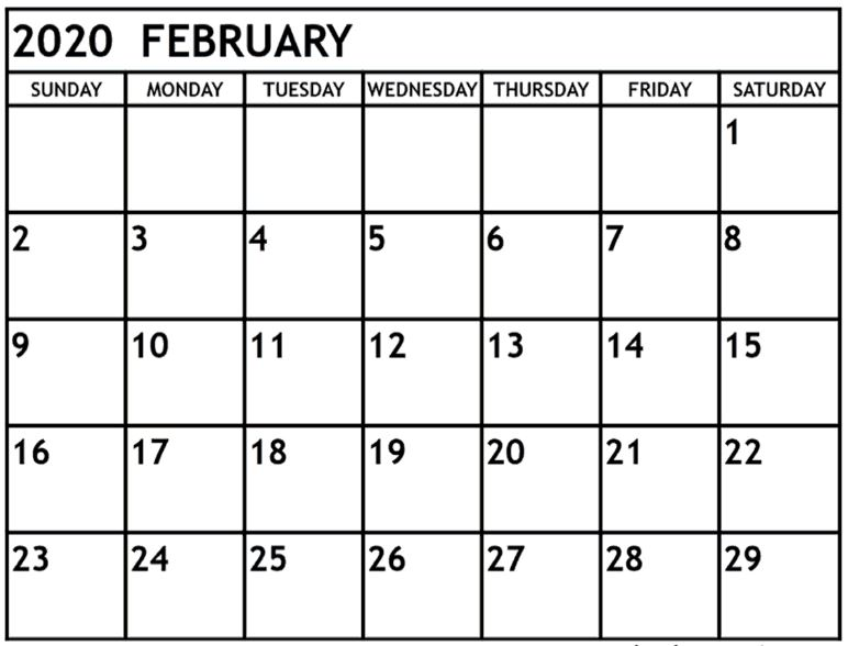 Blank February Calendar 2020 Template