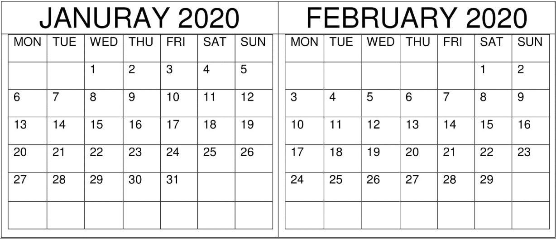 Blank January February Calendar 2020