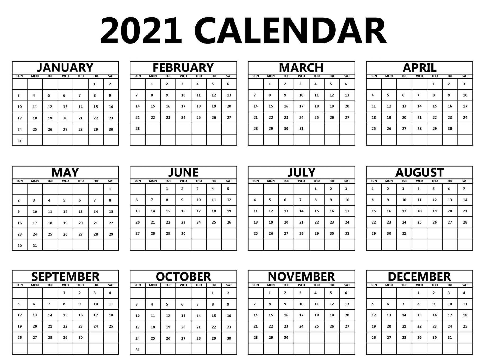 Blank Yearly Calendar 2021
