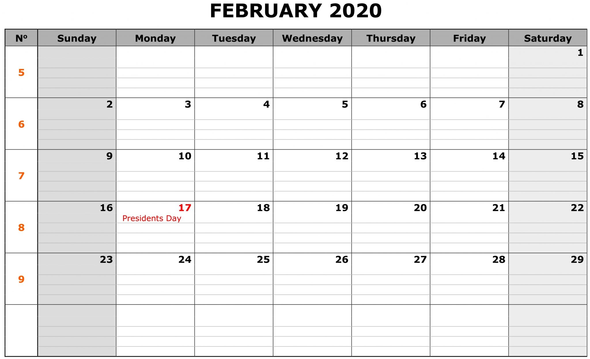 Editable Feb 2020 Calendar Template