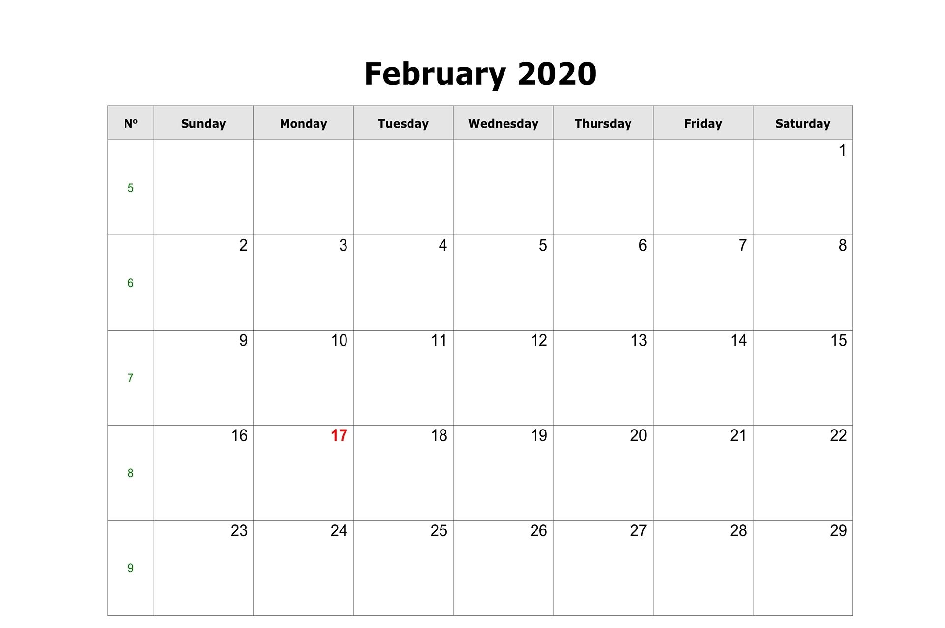 Editable February 2020 Calendar