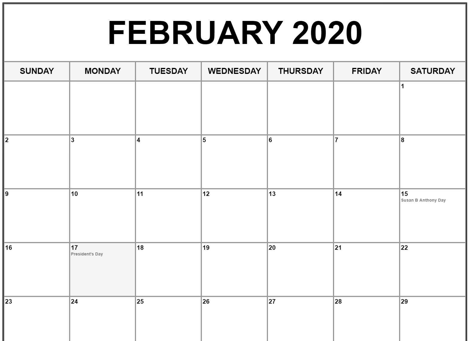 Feb 2020 Calendar US Holidays