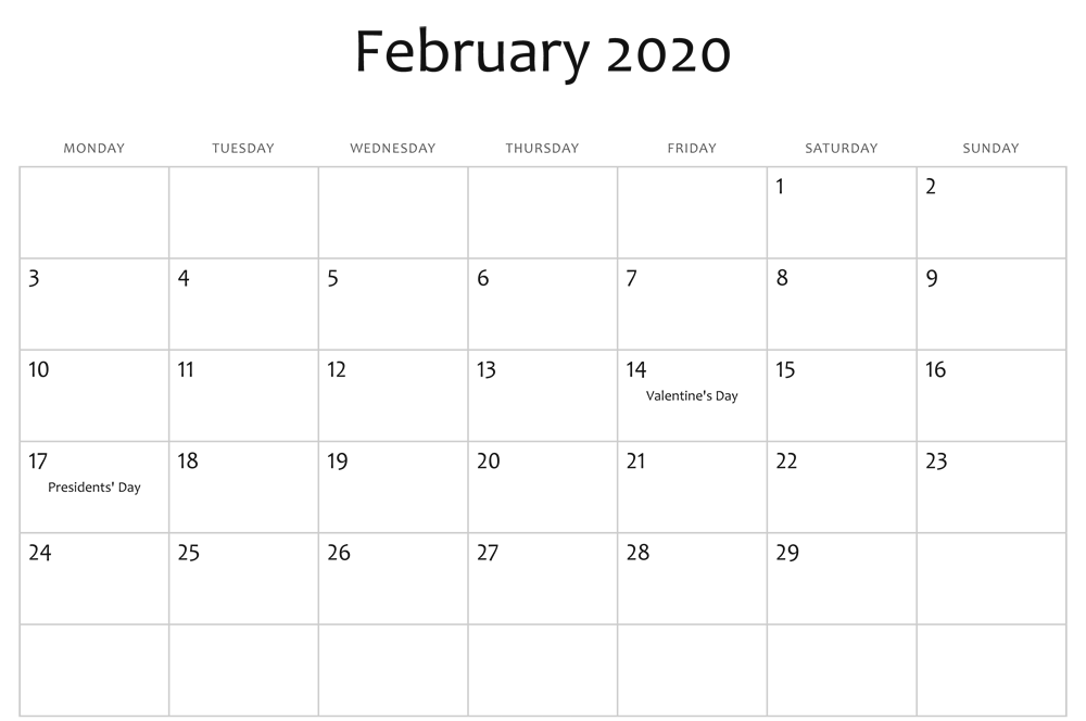 Feb 2020 Editable Calendar Holidays