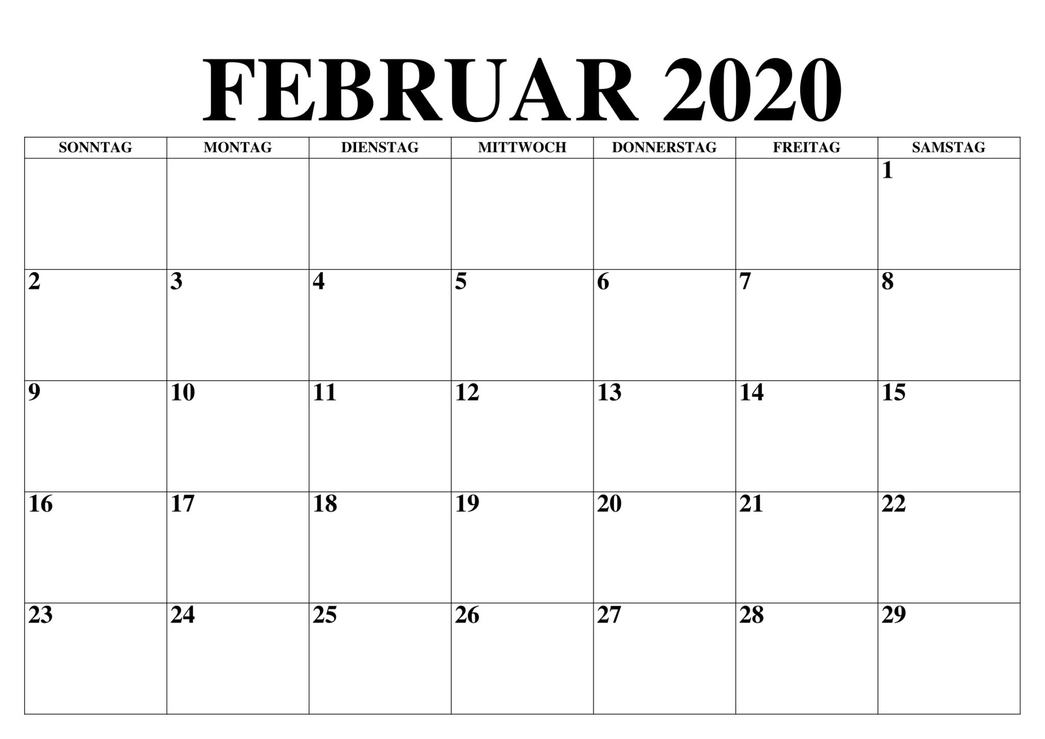 Februar 2020 Kalender Excel